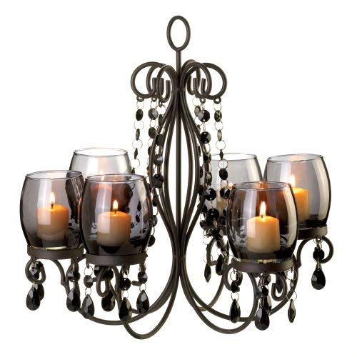 10015103 Midnight Elegance Candle Chandelier, Black