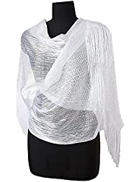 Womens Wedding Evening Wrap Shawl Glitter Metallic Prom Party Scarf With Fringe