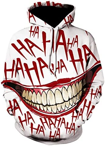 Graffiti 3D-Druck Clown mit Kapuze Anime Hoodie Mode Off White Sweatshirt Joker Pullover Männer Kleidungsmantel Tops (Farbe : WE 437, Size : XXL)