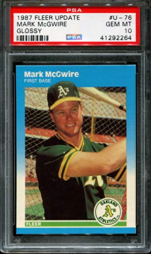 1987 FLEER UPDATE GLOSSY #U-76 MARK McGWIRE PSA 10 B2244256-953 - Mark Mcgwire Insert