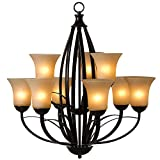Yosemite Home Decor 113-9U-ORB 9-Light Tioga Pass Chandelier with Amber Scavo Shades, Oil Rubbed Bronze