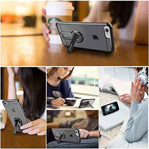 iPhone 6/ 6s Case with Kickstand, 360 degree Rotatable Stand Cute Plating Soft Full Body Covered Protective Phone Case For Girls, Women For Apple iPhone 6/ 6s - Black Photo #5