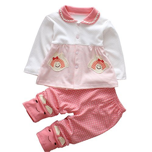 Trendy Baby Girl Clothes Sets Infant Outfits Toddler Pants Shirt Boutique Clothing Long Sleeve Red 6 Month]()