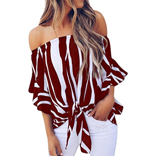 FENZL Women Striped Off Shoulder Waist Tie Blouse Short Sleeve Casual T Shirts Tops (M, Wine)