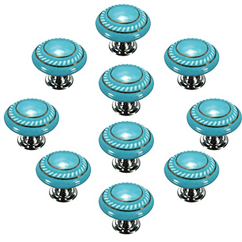 CSKB Blue 10PCS Retro Simple Style Round Ceramic Door Knob Handle Pull Knobs Door Cupboard Locker for Drawer,Cabinet,Chest, Bin, Dresser, Bathroom ,Cupboard, Etc with Screws (Drawer Knobs Colored)