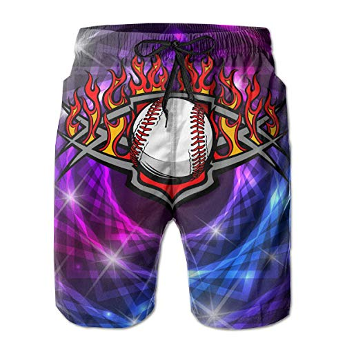 Baseball Softball Ball Template with Flames Men's Summer Casual Swim Trunks Shorts Quick Dry Swimming Shorts with Pockets White ()