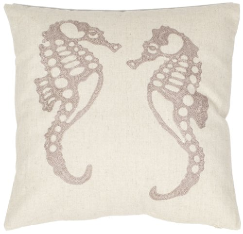 Safavieh Pillow Collection Majestic Seahorse 18-Inch Cream a