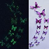 Gotian 3D Luminous Butterfly Design Decal Art Wall Stickers Room Magnetic for Wedding Home Decor Decal Applique Pack of 12 (Purple)