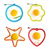 Nonstick Silicone Fried Egg Mold, IHUIXINHE Heart Round Star Flower Egg Rings Set with Handles for Pancake Breakfast Sandwiches (Random Color)