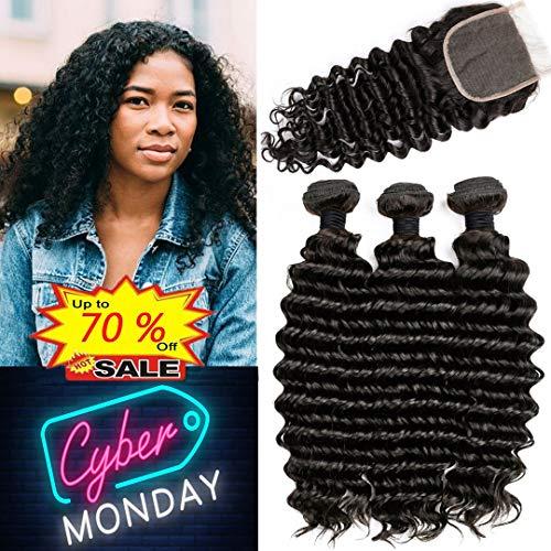 Brazilian Deep Wave Bundles with Closure Unprocessed Brazilian Virgin Human Hair Deep Curly Bundles Weave with Free Part Lace Closure Natural Black (10 12 14+10 Closure)