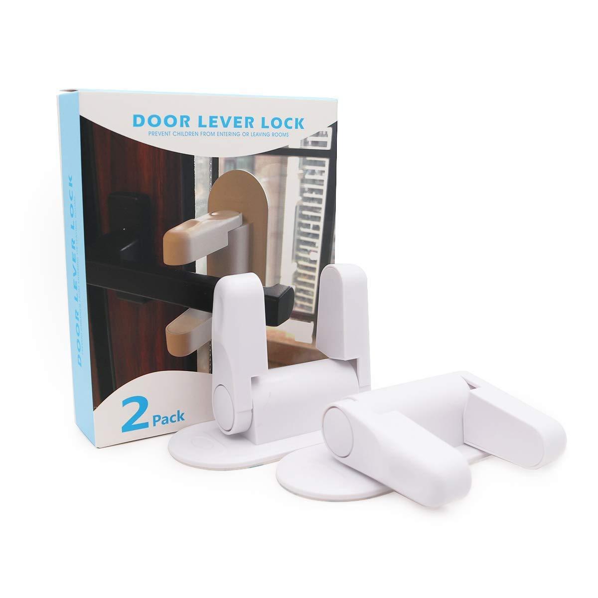 Beytortor Door Lever Lock 2 Pcs Child Proof Door Handle Lock Baby Safety Door Lock Kids Safety Lock Protector 3M Adhesive White