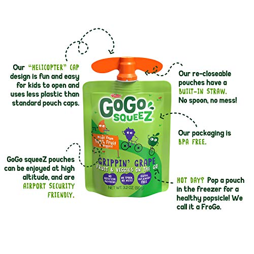 GoGo squeeZ fruit & veggieZ, Apple Sweet Potato Grape, 3.2 Ounce (48 Pouches), Gluten Free, Vegan Friendly, Unsweetened, Recloseable, BPA Free Pouches
