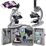 Gosky Microscope Kit for Kids and Beginners with Metal Arm and Base, Magnifications from 300x to 1200x, Includes 70pcs+ Accessory Set, Handy Storage Case and Microscopes Smartphone Adapter
