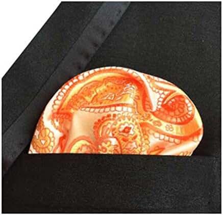 MENDENG Men's Orange Gold Paisley Pocket Square Formal Party Hanky Handkerchief