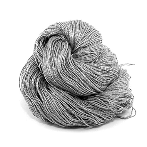 High Quality Linen Yarns - Darn Good Yarn, Sport Weight 2 Ply Linen, 350 Yards, Silver, 100 Grams, 1 Skein