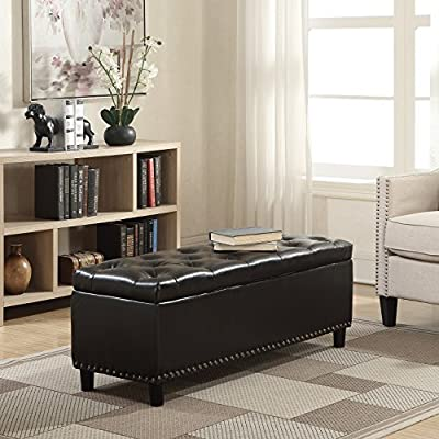 Miraculous Belleze 48 Rectangular Faux Leather Storage Ottoman Bench Footrest Large Brown Ncnpc Chair Design For Home Ncnpcorg