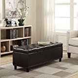 Brown Leather Rectangular Ottoman Belleze 48