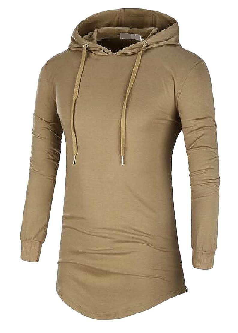 Wofupowga Mens Long-Sleeve Curved Hem Fashion Plus Size Hoodie T-Shirts Top