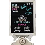 Rustic Felt Letter Board Ultimate Bundle Farmhouse Vintage White Wood Frame and Stand by Felt Creative Home Goods (Black, 12x16 Inches)