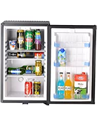 SMETA 110V 12V 1.6 cu ft Compact Refrigerator with Reversible Door,Low Noise Beverage Car Cooler Fridge,BLACK