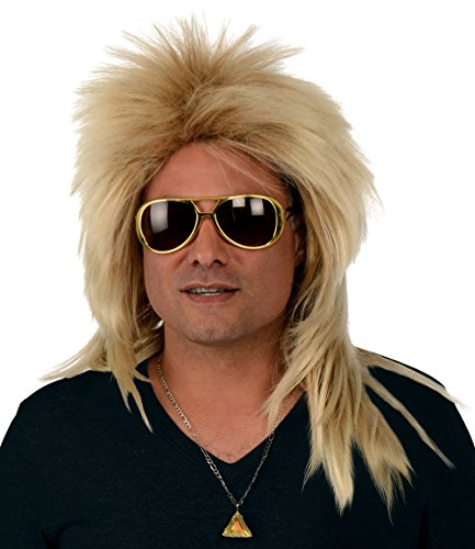 Costume Bowie (Kangaroo Costume Wigs; Long 80s Rocker Wig, Dirty Blonde)