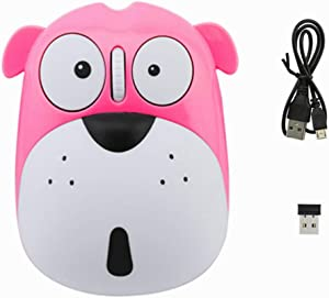 3C Light 2.4GHz Wireless Mouse Cute Animal Dog Shape Cordless Mouse Mini Rechargeable Optical Mice Cartoon Puppy Computer Mouse 3 Buttons for Laptop Desktop PC (Pink)