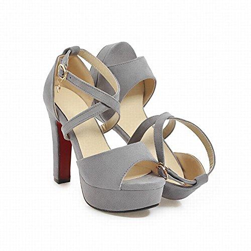 Platform Grey Womens Carolbar Party Wedding Sandals Buckle Peep Evening Toe Heeled naZZxPq