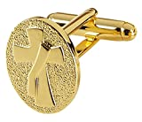 Mens Gold Toned Base Cuff Links for Dress Clerical Shirt, 1/2 Inch (Deacon Cross)