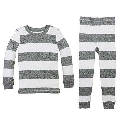 Burt's Bees Baby Unisex Little Kid Pajamas, 2-Piece PJ Set, 100% Organic Cotton (12 Mo-7 Yrs), Heather Grey Rugby Stripe, 3T