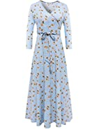 Aphratti Women's 3/4 Sleeve Vintage Wrap Long Maxi Dress with Belt