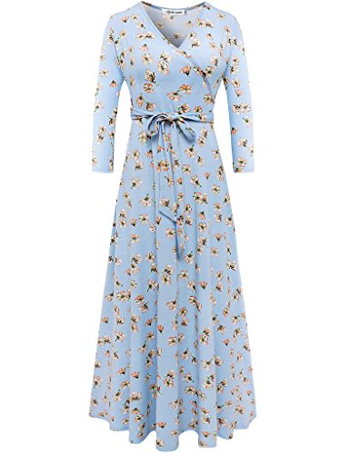 (Aphratti Women's 3/4 Sleeve Vintage Wrap Long Maxi Dress with Belt Medium Sky Blue)