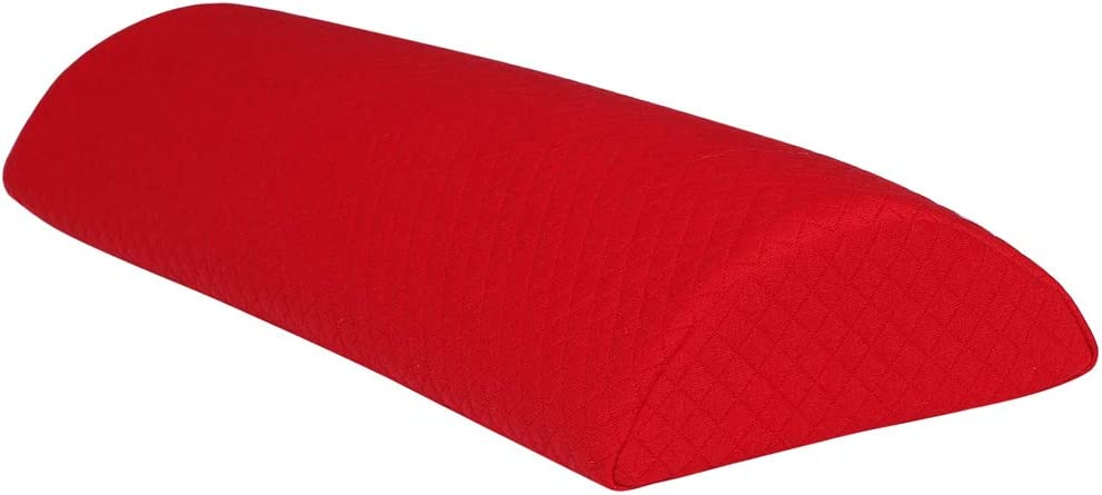 sourcing map Demi Lune Memory Mousse Coussin Lit Dos Cou Jambe Genou Oreiller Support Lavable Couverture Rouge Grand