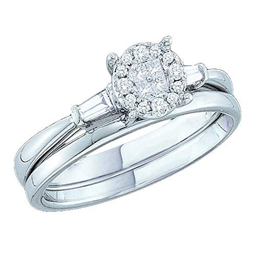 Size - 7 - 14k White Gold Diamond Ladies Womens Bridal Engagement Ring with Matching Plain Solid Wedding Band Two 2 Ring Set Invisible Solitaire Style Center Setting with Side Stones Three 3 Stone Channel Set Princess , Round & Baguette Cut Diamond Ring 8mm (1/5 cttw) ()