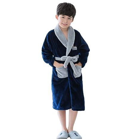 Meng Wei Shop Pijamas Dos Piezas Camisón de los Muchachos Albornoces para niños Albornoces de Franela