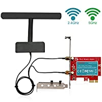 LTERIVER 802.11 AC 600Mbps 2.4GHz 5GHz Dual Band PCI Express (PCIe) Wireless Adapter-PCIe WiFi Card-PCIE Wireless Card-PCIe Wi-Fi Adapter-Qualcomm Atheros QCA9377 Wireless Network Adapter