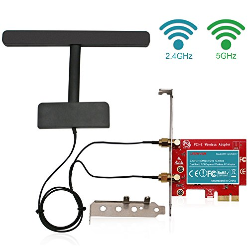LTERIVER 802.11 AC 600Mbps 2.4GHz 5GHz Dual Band PCI Express (PCIe) Wireless Adapter-PCIe WiFi Card-PCIE Wireless Card-PCIe Wi-Fi Adapter-Qualcomm Atheros QCA9377 Wireless Network Adapter by LTERIVER