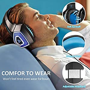 STOON Gaming Headset, for Xbox One PS4 Headset with Noise Canceling Microphone & LED Light, Over-Ear Gaming Headphones with Soft Memory Earmuffs for PC, Mac, Laptop, Nintendo Switch (Color: black-blue)