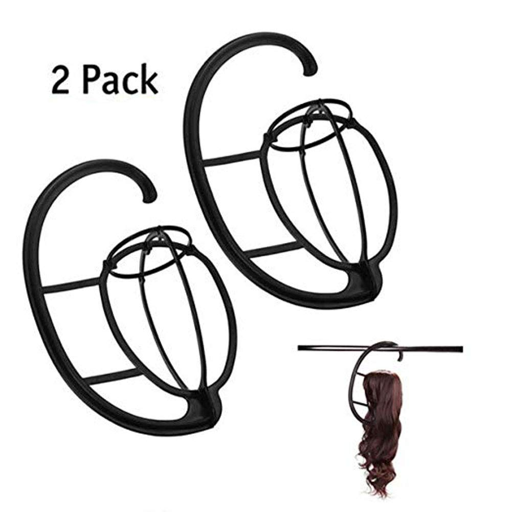 CCbeauty Wig Hanger 2 Pcs Portable Wig Stand Holder Hat and Cap Holder Wig Dry Stand Wig Dryer Durable Hairpieces Display Holder Stand Tools,Plastic,Black