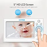 """HOMIEE Video Baby Monitor with 720P Digital Camera, 5"""" Color LCD Display and 1000 Ft Long Range, Infrared Night Vision, 5 Lullabies, Two-Way Audio Talk, Sound/Temperature Alarm, Wall Mounting Capable"""