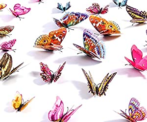 Kakuu Butterfly Wall Decals- 24PCS 3D Butterflies Wall Stickers Removable, Mural Decor for Kids Room Bedroom Decor Living Room Decor (Colorful)