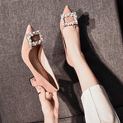 de Altos Salvajes zapatos Mujer Tacones De Zapatos De alto Powder Acentuado con 36 Sandalias Beige Otoño De Yukun Pequeños Tacones De De Zapatos Bean Mujer Zapatos Aguja Individuales tacón a5HqdOw