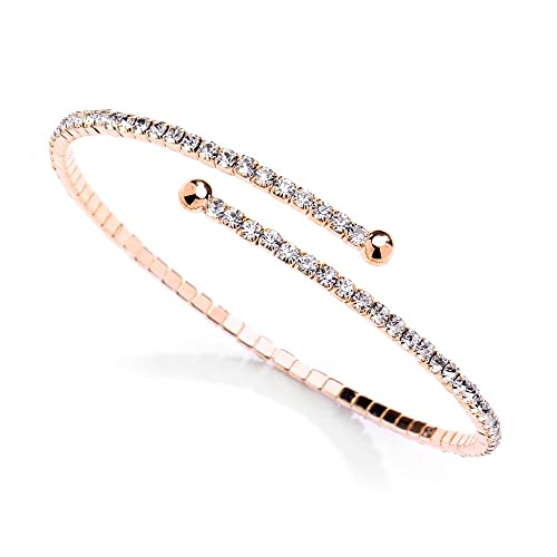 Mariell Rose Gold Crystal Rhinestone Cuff 1-Row Bangle Bracelet for Bridal 00772c413