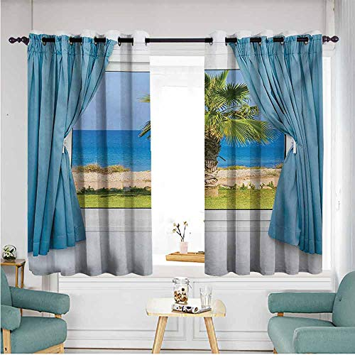 ETHEEKA Sliding Door Curtains,Palm Tree,Grommet Curtains for Bedroom,W55x72L,Blue - Palm Door Bamboo Tree Curtain