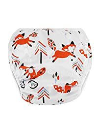 Zooawa Baby Reusable Swim Diaper, Washable One Size Adjustable Training Swimsuit Diaper Swim Underwear for Infant Toddler, Fox