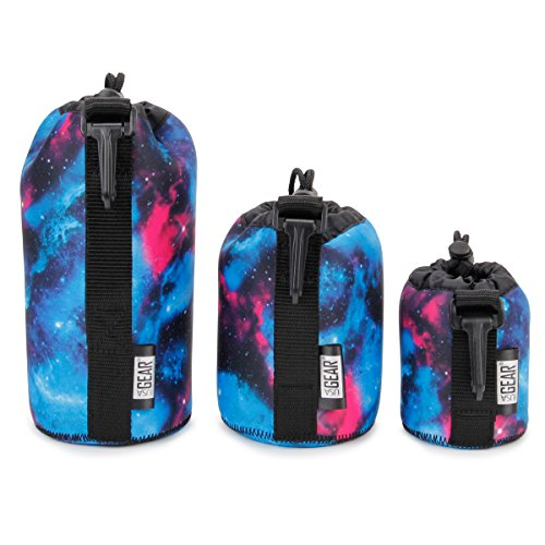 USA GEAR FlexARMOR Protective Neoprene Lens Case Pouch Set 3-Pack (Galaxy) - Small, Medium and Large Cases Hold Lenses up to 70-300mm with Drawstring Opening, Attached Clip, Reinforced Belt Loop