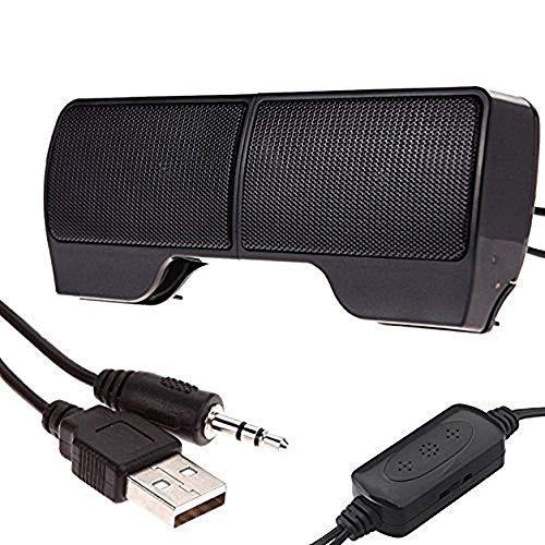 Portable Mini Clip-On USB 3.5 mm Powered Stereo Speaker 3.5 mm Detachable Multimedia Soundbar for Notebook Laptop PC Desktop Tablet Black