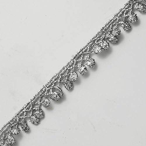 2-Yards 5/8 Inch Metallic Lace Trim for Bridal, Costume or Jewelry, Crafts and Sewing by 1 Yard, LP-MX-1604 (Silver)