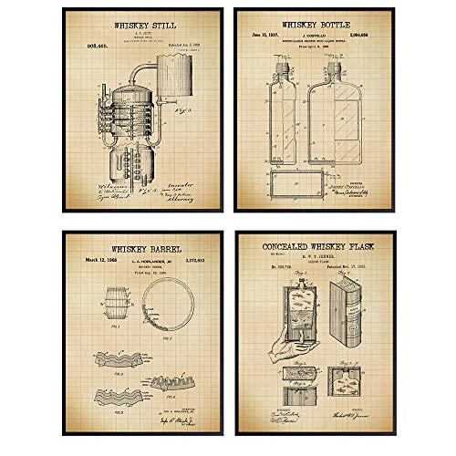 Whiskey Lovers Patent Wall Art Prints – Set of Four (8X10) Vintage Unframed Photos – Makes a Great Gift For Man Cave or Bars