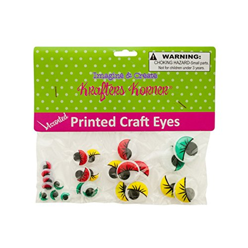 Colored Wiggly Printed Craft Eyes 25/Pack (8 Pack)