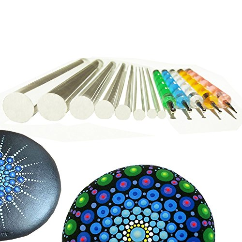 Mandala Rock Painting Pen Dot Dotting Tools Stencil Brush Set 13 PCS Flat Head 4mm 5mm 6mm 8mm 10mm 12mm 14mm Diameter 5 Stylus (set1)